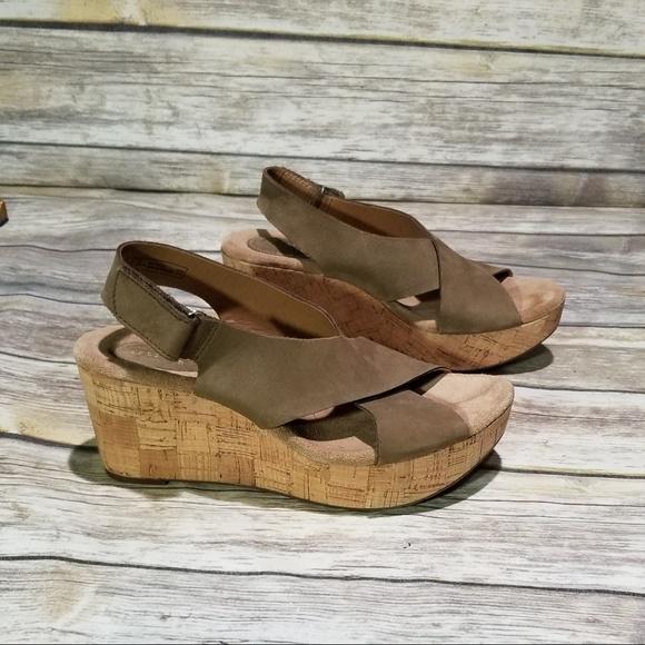 624dc287b6f2 Clarks Shoes - Clarks Caslynn Shae Wedge Sandal size 9